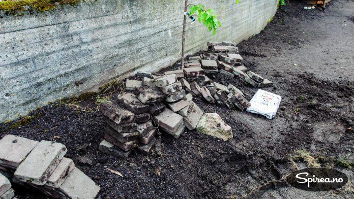 Belegningsstein kan tas opp og gjenbrukes i den nye hagen.