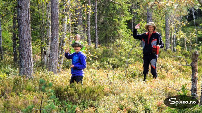 Andreas og Bjørnhild hadde begge funnet frem turhattene, mens Henrik fant det tryggest å bruke den signalgrønne jakka i tilfelle elgjegere som hadde tatt feil av kalenderen.