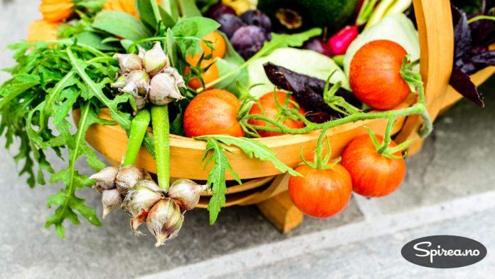 Her er noe av avlingen fra kjøkkenhagen.