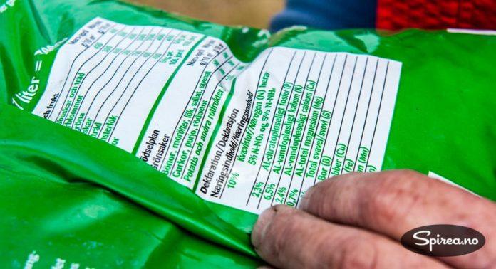 Bak på pakningen kan du se hva gjødselproduktet inneholder.