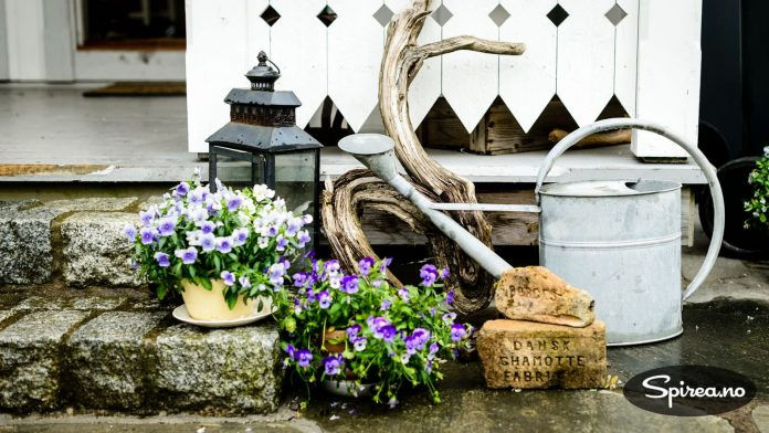 Hver krok av hagen er dekorert med blomster og loppisfunn.