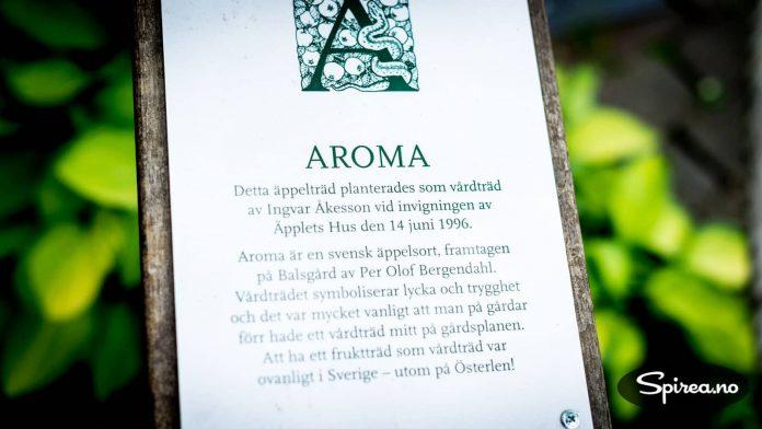 I eplehagen kan du lese informasjon om de ulike eplesortene som dyrkes her.