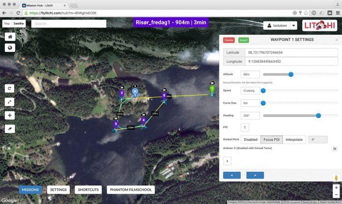 Slik ser den planlagte drone-ruten i videoen øverst ut. Vi starter på punkt 1 og går via de andre waypoints, mens kameraet hele tiden peker mot huset (blått kamera-ikon)