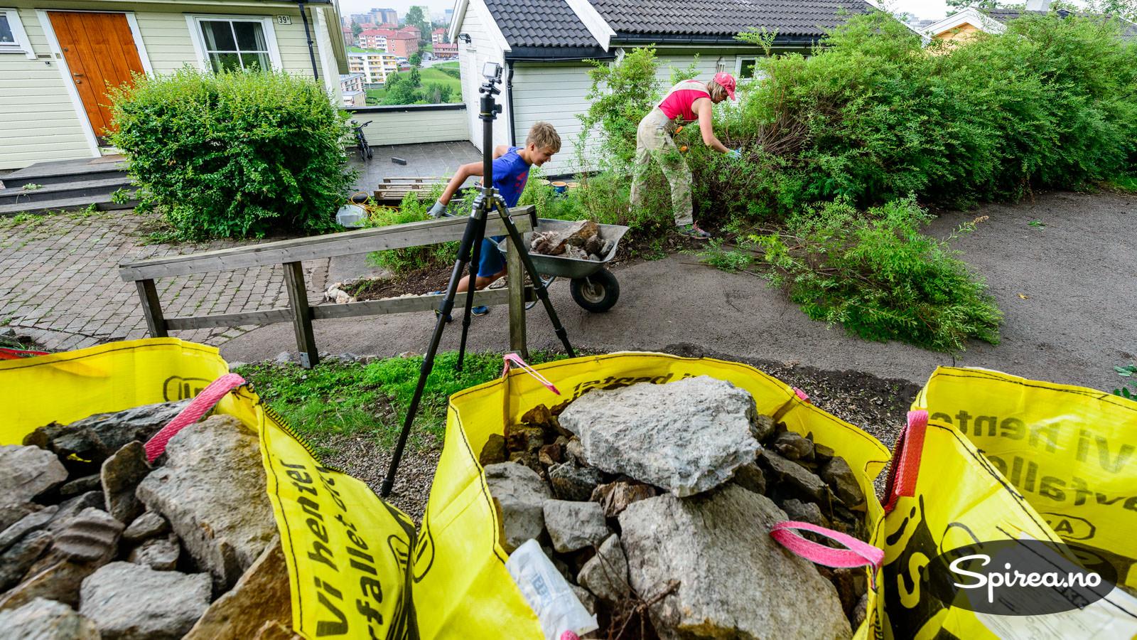 Vi måtte bruke trillebår for å få de tunge steinene opp til parkeringsplassen der iSEKKene var plassert.